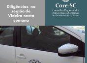 Fiscalização Core-SC: diligências no município de Videira e região nesta semana. Agentes fiscais do Core-SC estão trabalhando de acordo com as regras de proteção à saúde, como o uso de máscara, álcool gel e distanciamento social.