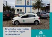 Fiscalização Core-SC: diligências nas regiões dos municípios de Joinville e Lages nesta semana. Agentes fiscais alertam para a obrigatoriedade do registro regular no Conselho para o exercício da atividade. Confira a agenda do setor para março.