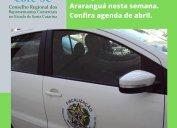 Agentes fiscais do Core-SC em diligências nas regiões dos municípios de Xanxerê e Araranguá nesta semana.  Confira agenda da Fiscalização do Core-SC para abril.