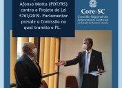 Projeto de Lei n° 5.761/2019: Sistema Confere/Cores recebe apoio do deputado Afonso Motta (PDT-RS). Parlamentar preside a Comissão na qual tramita o PL prejudicial aos representantes comerciais.