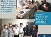Deputado Hélio Costa é a favor dos representantes comerciais e contra o Projeto de Lei 5.761/2019. Único parlamentar catarinense na Comissão da Câmara na qual tramita o PL, parlamentar recebeu Diretoria do Core-SC hoje pela manhã (26/04).