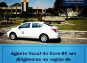 Diligências na região de Canoinhas nesta semana. Agente fiscal também está divulgando o Core-SC em Movimento (posto avançado do Conselho) que será instalado no Senac do município nos dias 6 e 7 de outubro.