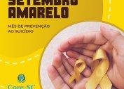 SETEMBRO AMARELO. VALORIZE A VIDA! A cor amarela representa a vida, por isso foi escolhida para a campanha mundial que conscientiza sobre a prevenção ao suicídio.